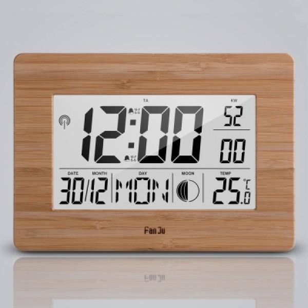 FanJu FJ3530 Big Screen Digital Alarm Clock with Dual Alarm, Indoor Temperature, Moon Phase, Calenda
