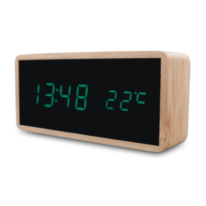 Bamboo Wooden Digital Alarm Clock with Temperature