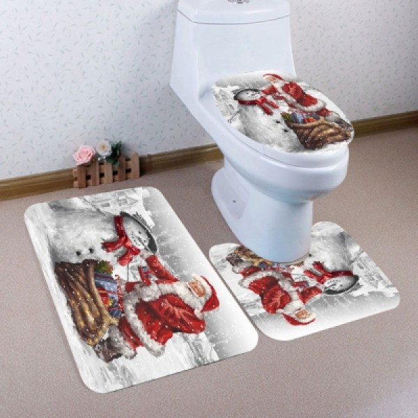 Father Christmas and Snowman Pattern Bathroom Mats Set