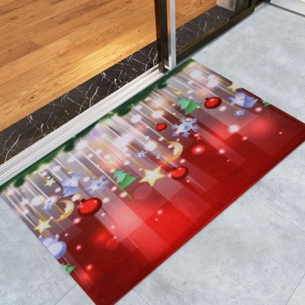 Christmas Baubles Stars Pattern Water Absorption Indoor Outdoor Area Rug