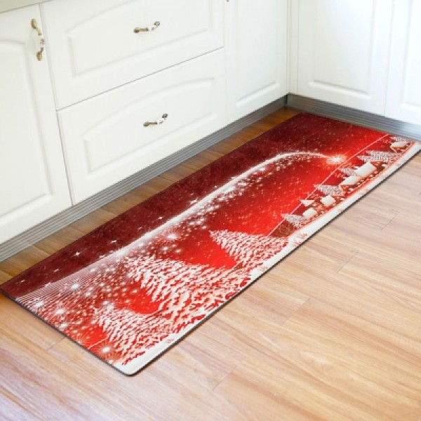 Christmas Wood Grain Pattern Water Absorption Area Rug Kitchen Mat