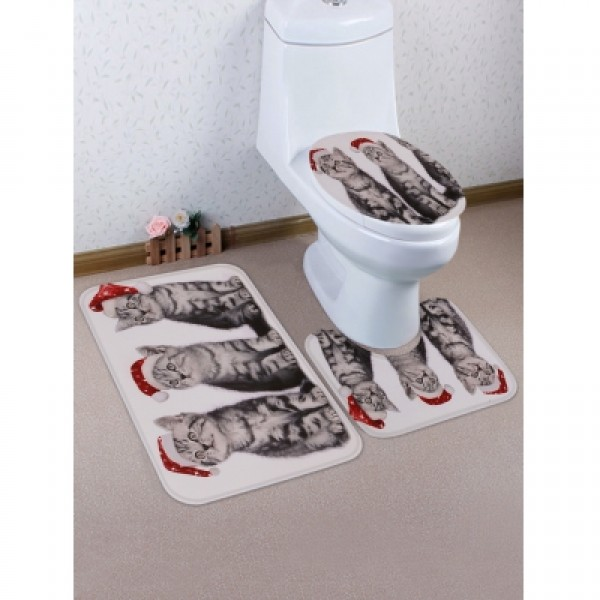 Christmas Cats Printed Toilet Mat Set