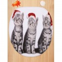 Christmas Cats Printed Toilet Mat Set
