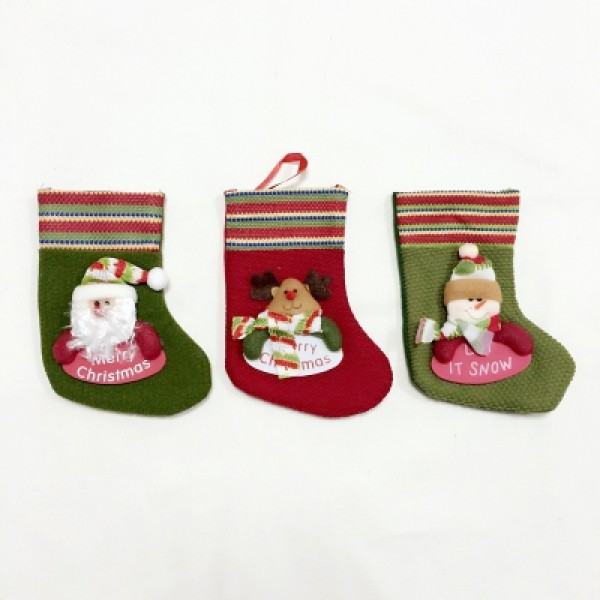 3PCS Christmas Stocking Christmas Storage Ornaments
