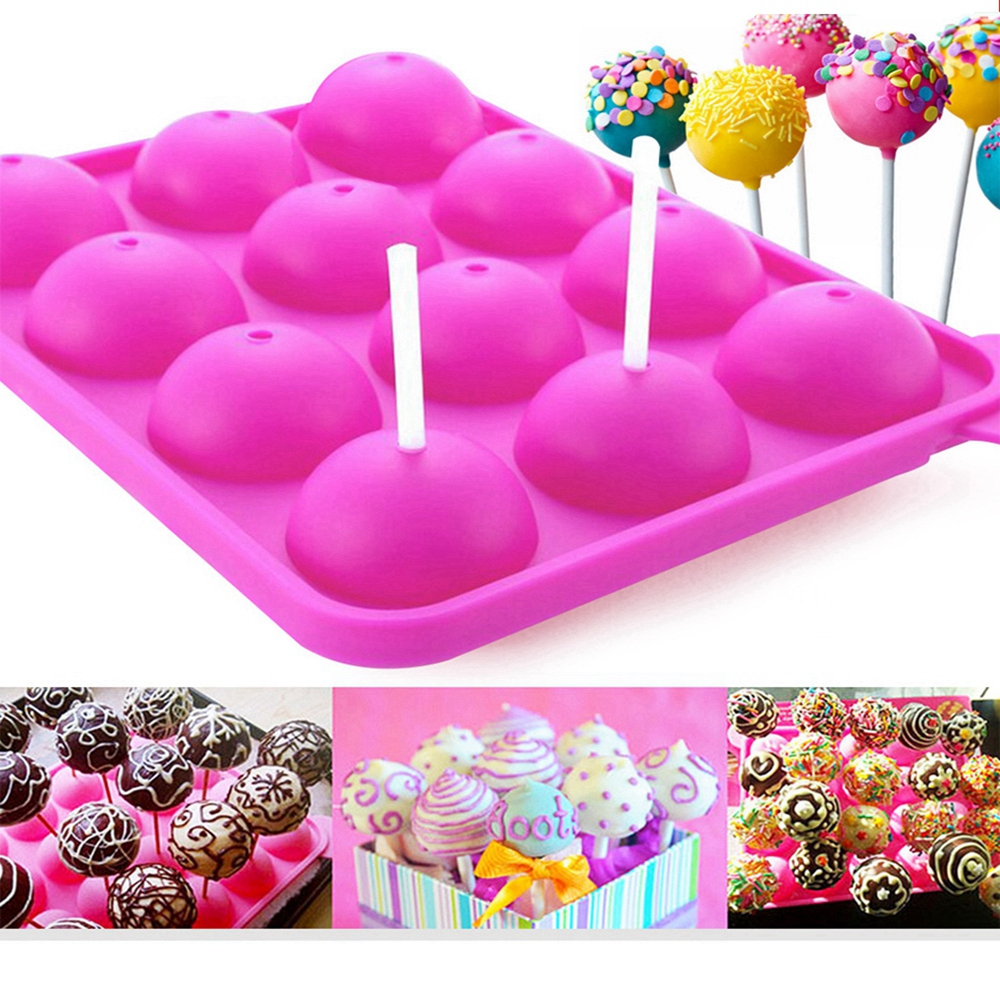 2pcs 12 Silicone Round Lollipop Mold Stick Baking Chocolate Candy Party DIY Tool