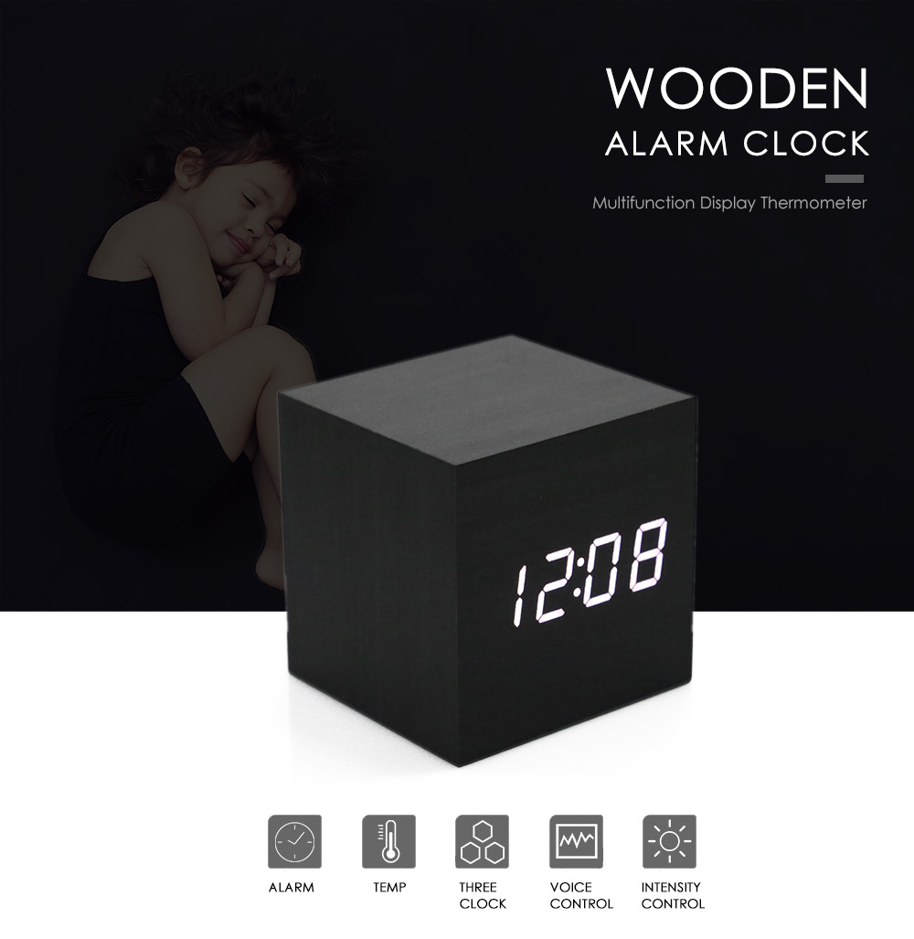 Display Thermometer Wooden Alarm Clock