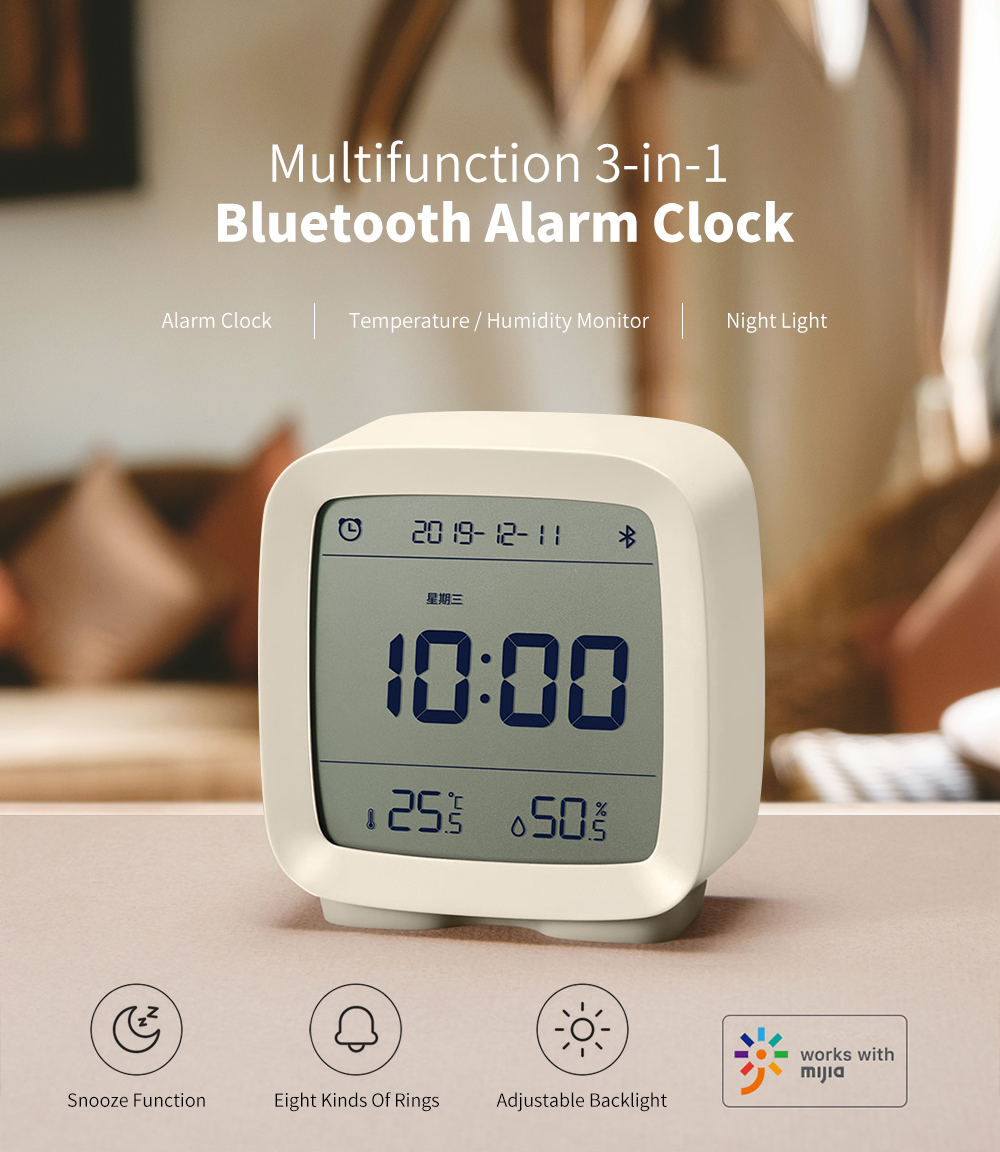 CGD1 Mini Multifunction Bluetooth Alarm Clock Temperature / Humidity Monitor Night Light from Xiaomi youpin - Blue Ivy